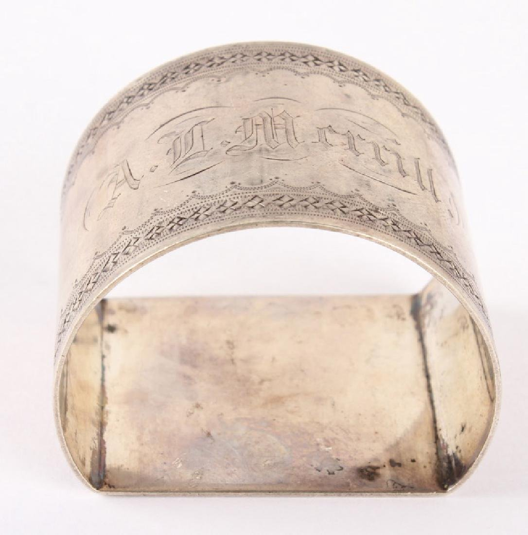 COIN SILVER NAPKIN RING DATED FEB. 1869 - 4