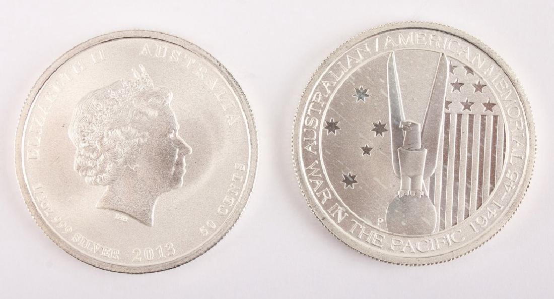 2 AUSTRALIAN 2013 HALF OUNCE SILVER 50 CENT COINS