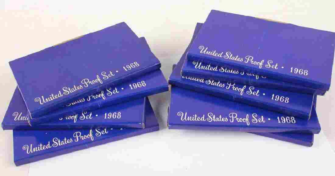 9 U.S. MINT 1968 ORIGINAL BOX SILVER PROOF SETS