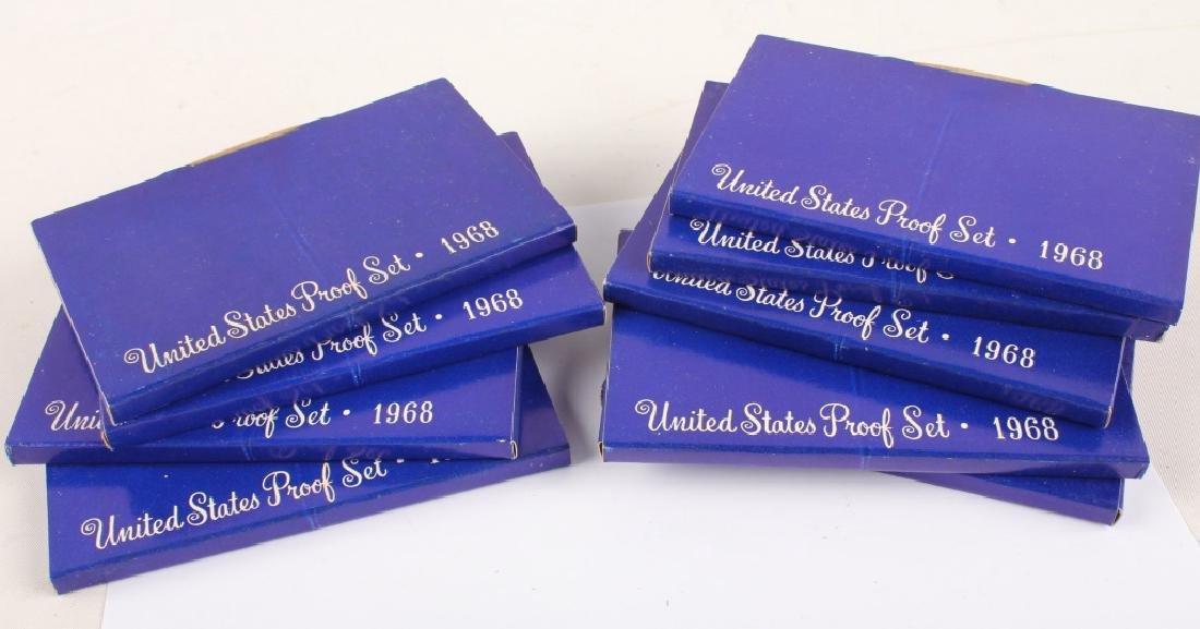9 U.S. MINT 1968 ORIGINAL BOX SILVER PROOF SETS