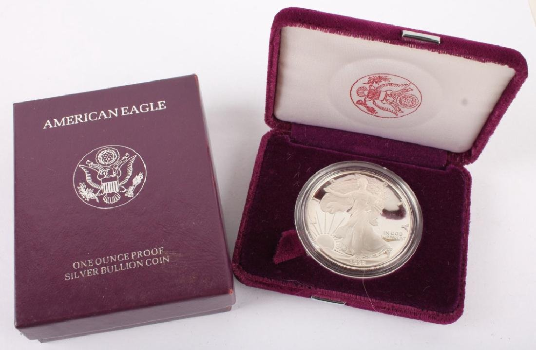 1992 S AMERICAN EAGLE SILVER ONE OUNCE PROOF COIN