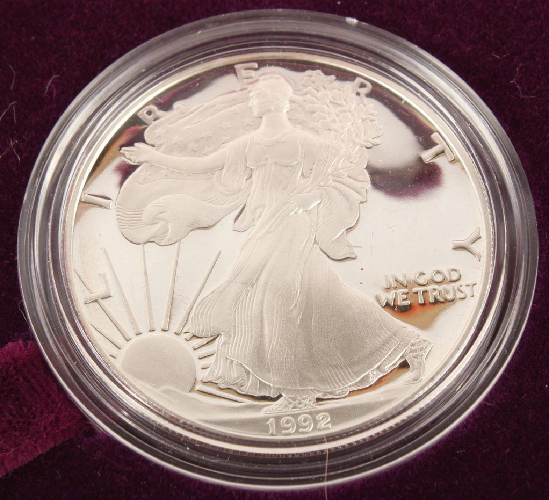 1992 S AMERICAN EAGLE SILVER ONE OUNCE PROOF COIN - 2