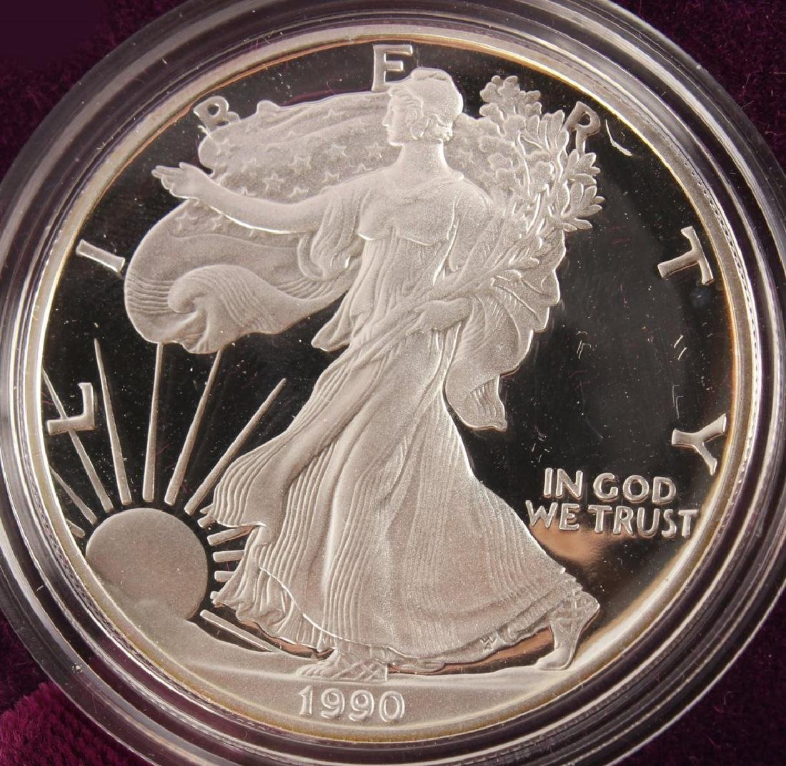 1990 S AMERICAN EAGLE SILVER ONE OUNCE PROOF COIN - 2