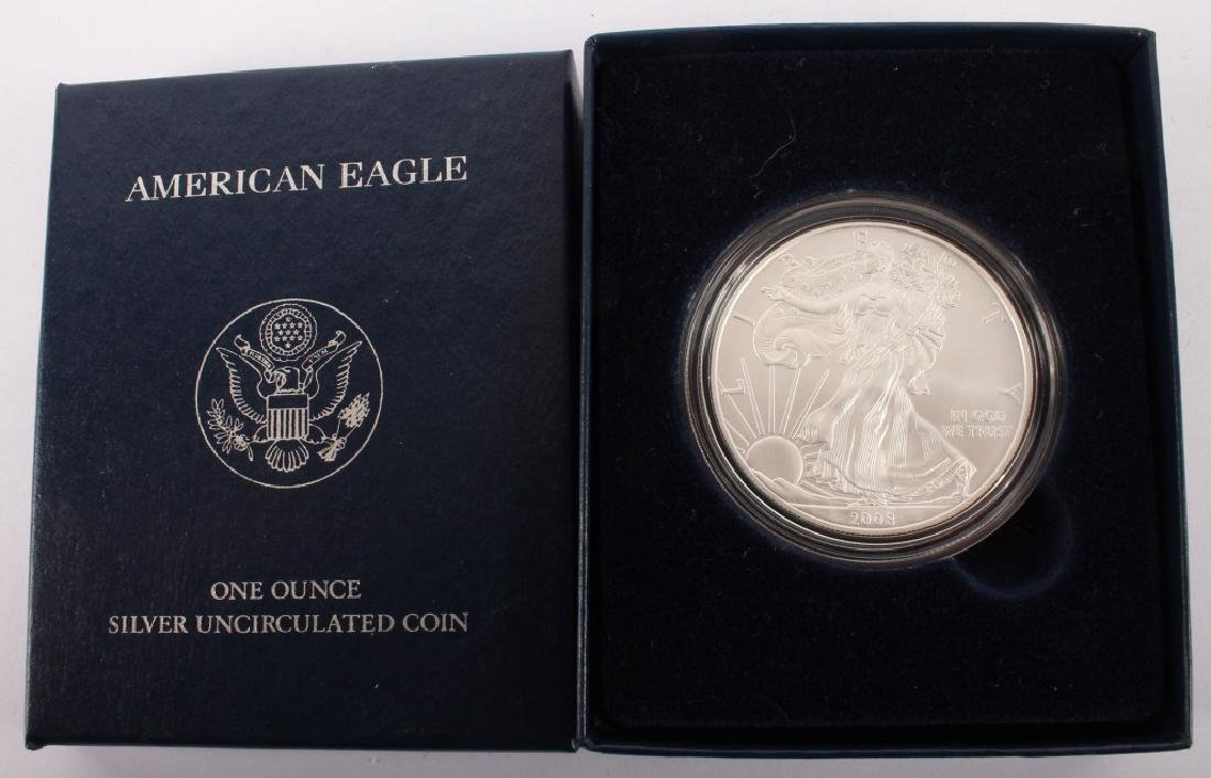 2008 W AMERICAN EAGLE SILVER ONE OUNCE UNC. COIN