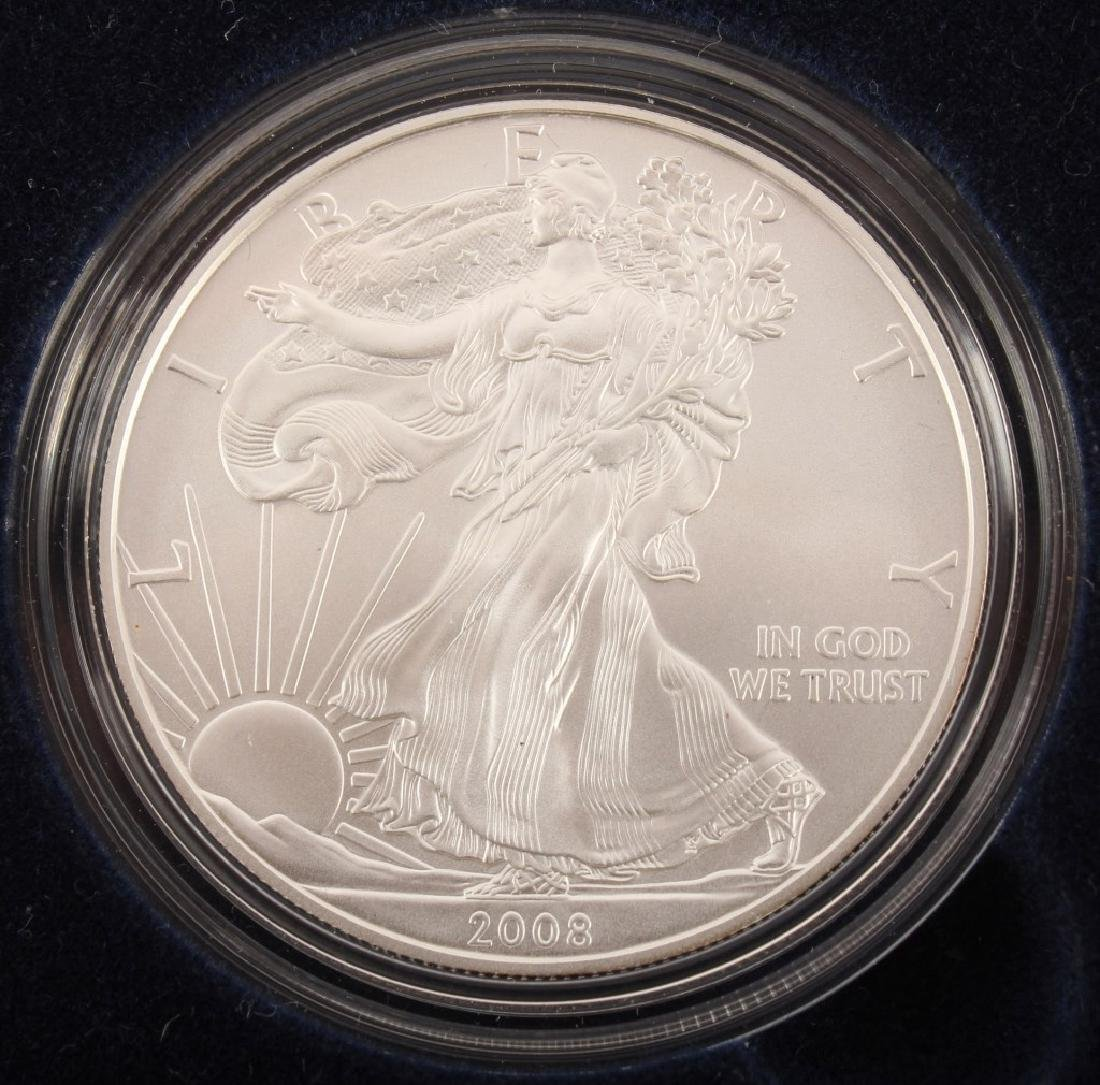 2008 W AMERICAN EAGLE SILVER ONE OUNCE UNC. COIN - 2