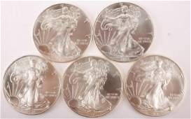 5 UNITED STATES 2016 AMERICAN SILVER EAGLES 1OZ