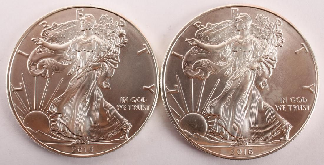 2 UNITED STATES 2016 AMERICAN SILVER EAGLES 1OZ