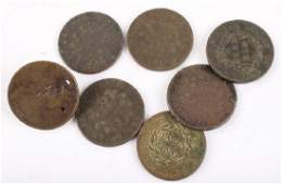 7 EARLY U.S. LARGE CENTS 1798 - 1851