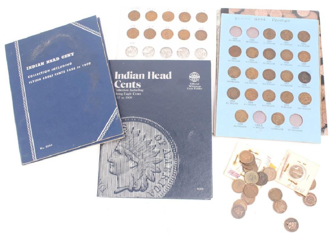 MIXED UNITED STATES INDIAN HEAD CENTS BOOKS LOOSE