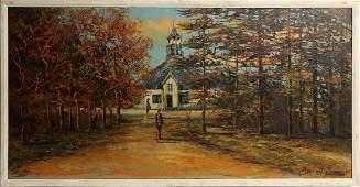 MORRIS KATZ 1964 CHURCH LANDSCAPE OIL PAINTING