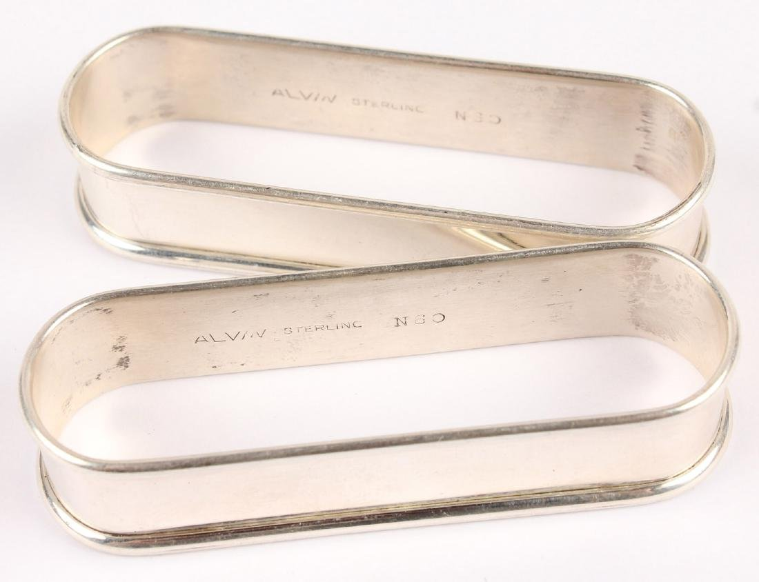 2 ALVIN SOLID STERLING SILVER NAPKIN RINGS