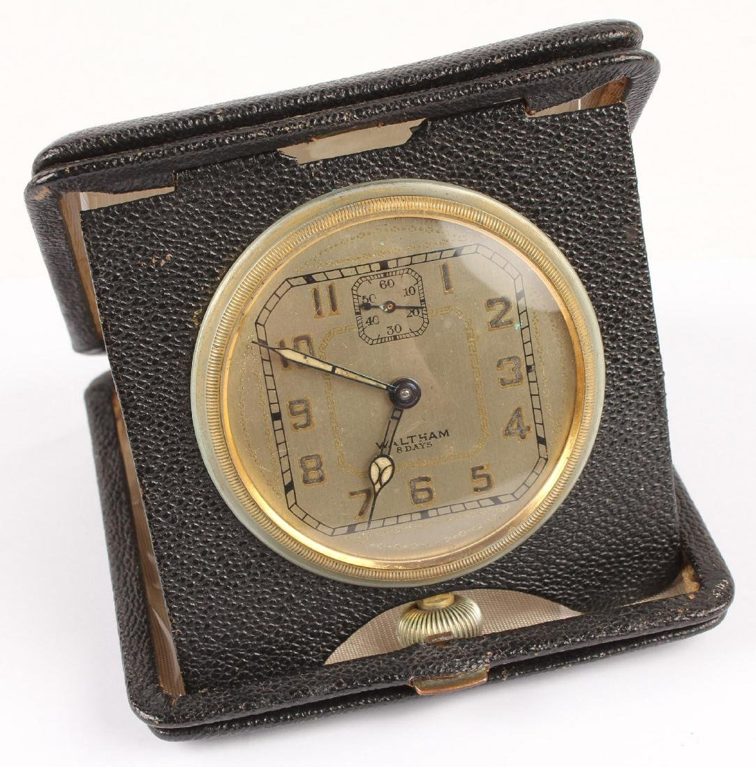 WALTHAM 8 DAYS TRAVEL CLOCK IN LEATHER CASE