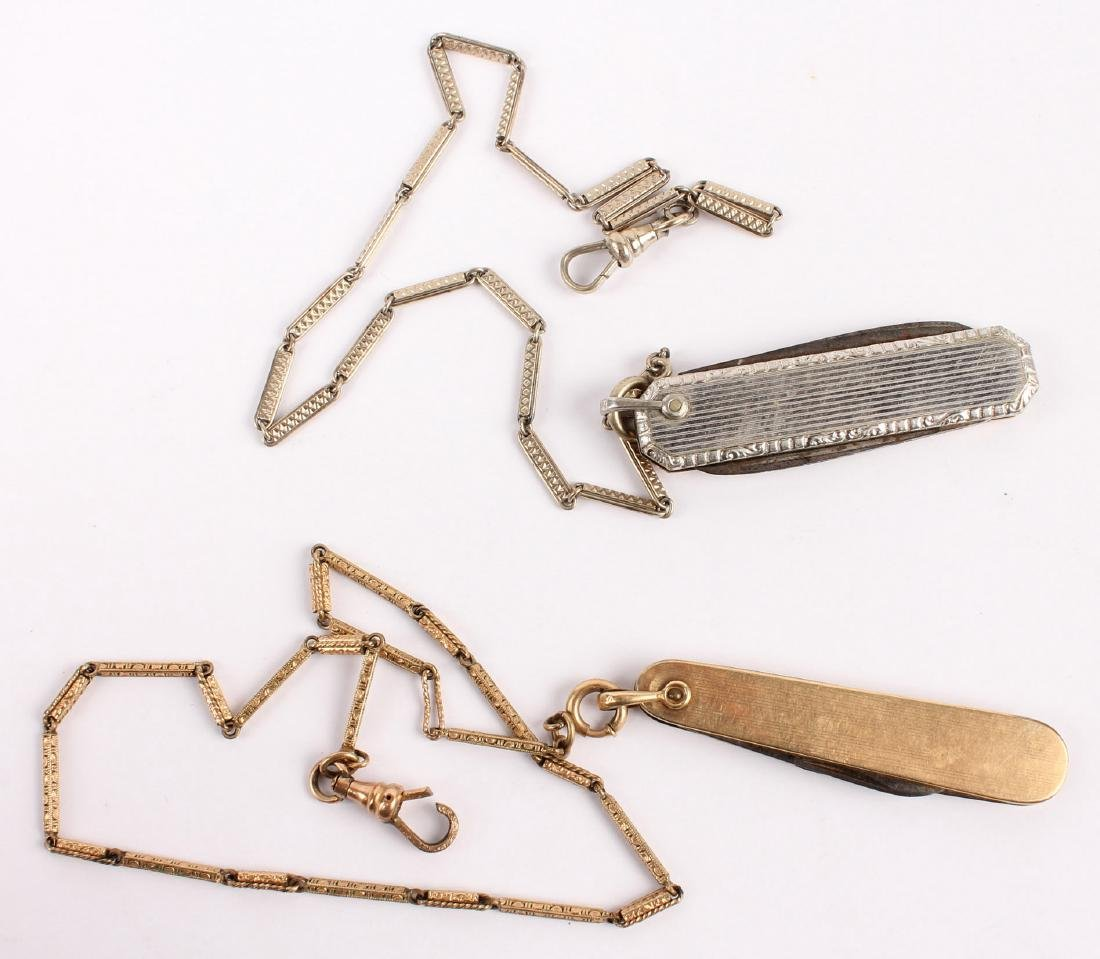 2 GOLD PLATED WATCH FOBS WITH POCKET KNIVES