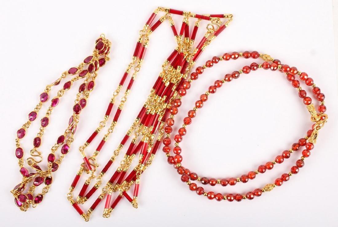 4 RED GLASS QUARTZ FASHION NECKLACES