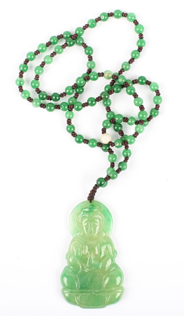 GREEN JADE BEAD NECKLACE W/ BUDDHA PENDANT