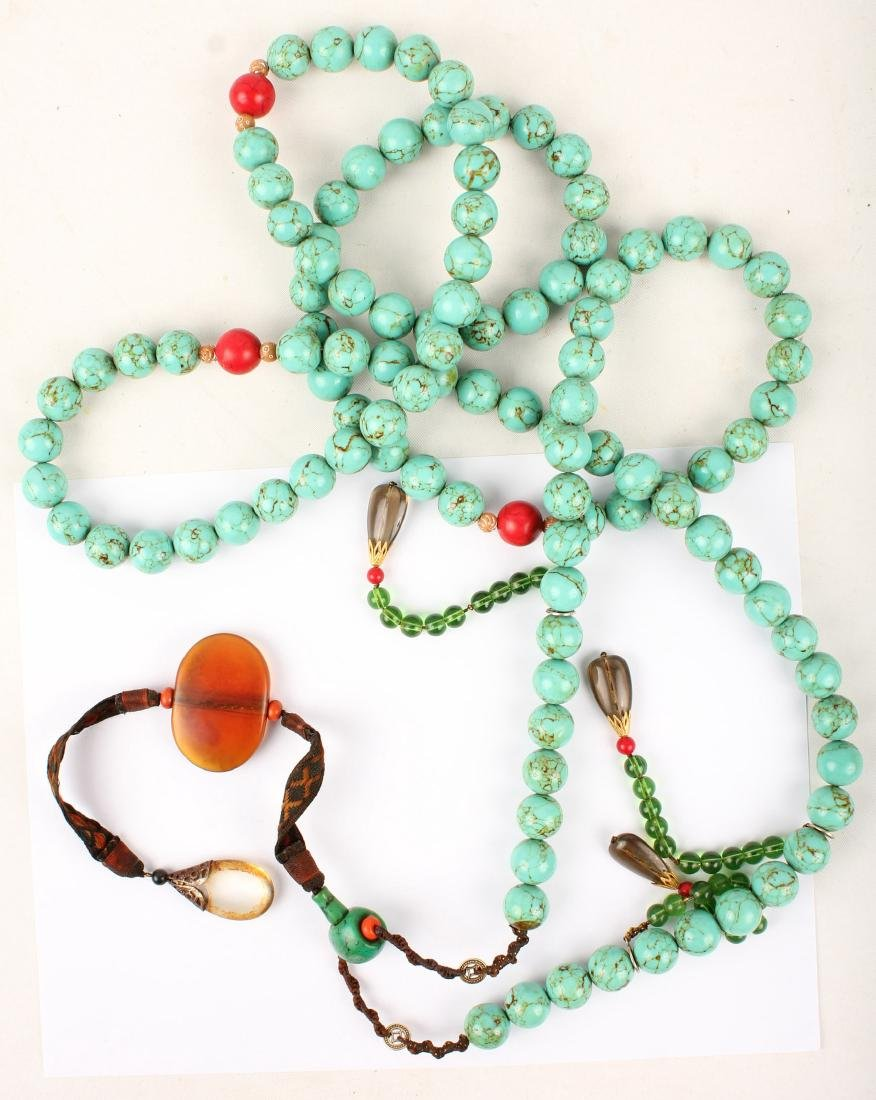CHINESE STONE COURT BEADED NECKLACE