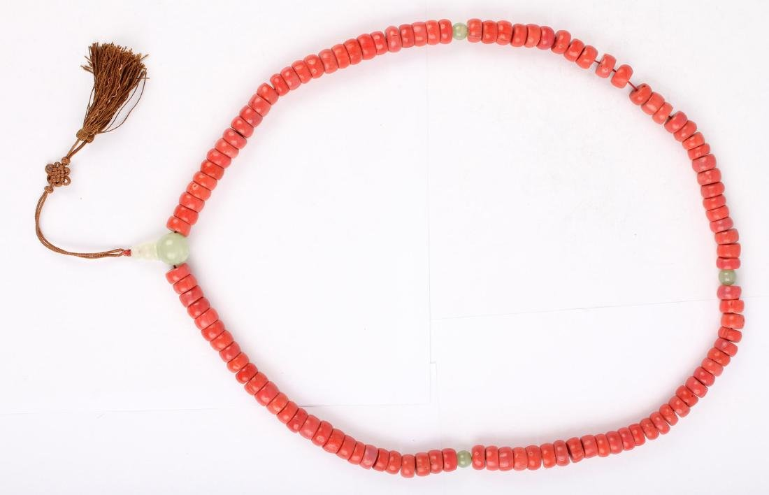 CHINESE JADE AND CORAL BEADED NECKLACE