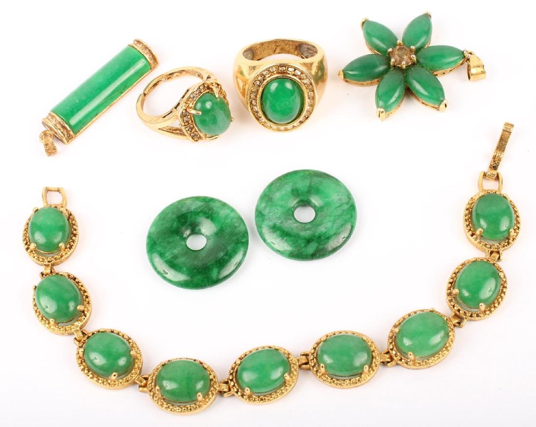 MIXED GREEN JADE GOLD PLATED JEWELRY