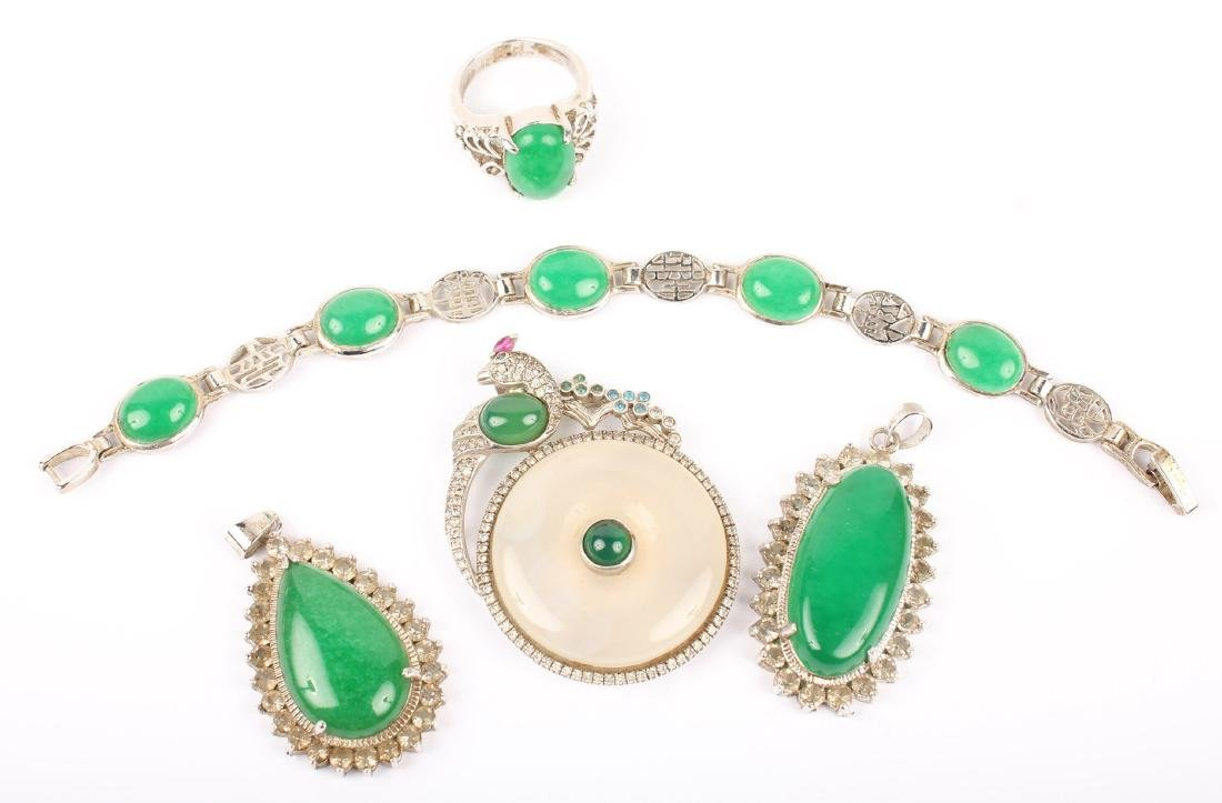 MIXED GREEN JADE SILVER PLATED JEWELRY