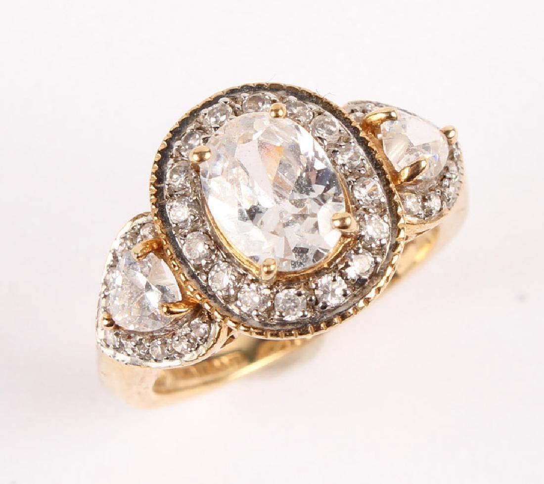 LADIES 10K YELLOW GOLD DIAMOND & CZ FASHION RING