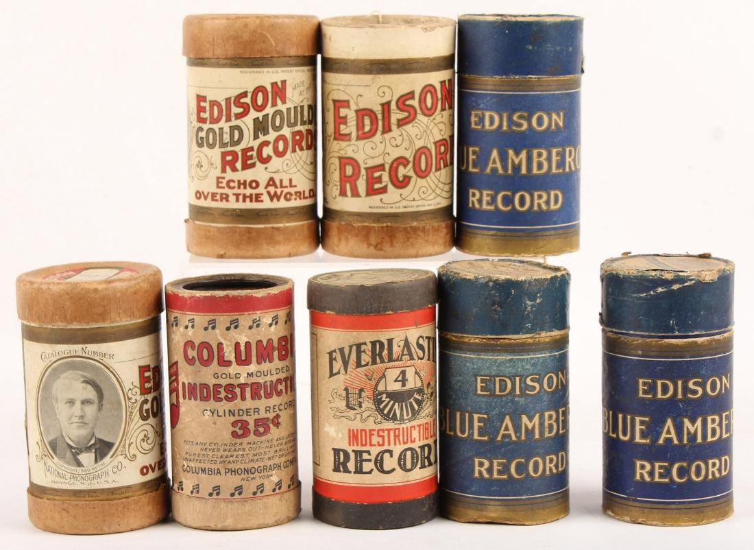 LOT OF 8 EDISON PHONOGRAPH CYLINDER RECORDS