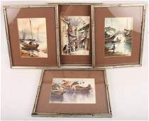 FOUR FRAMED ORIGINAL WATERCOLOR PAINTINGS