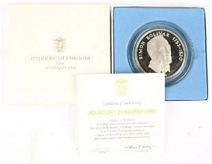 1974 SIMON BOLIVAR PANAMA 20 BALBOAS SILVER COIN