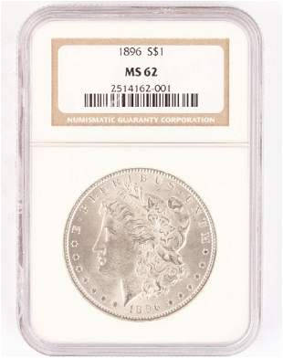 1896 PHILADELPHIA MORGAN SILVER DOLLAR MS62 NGC