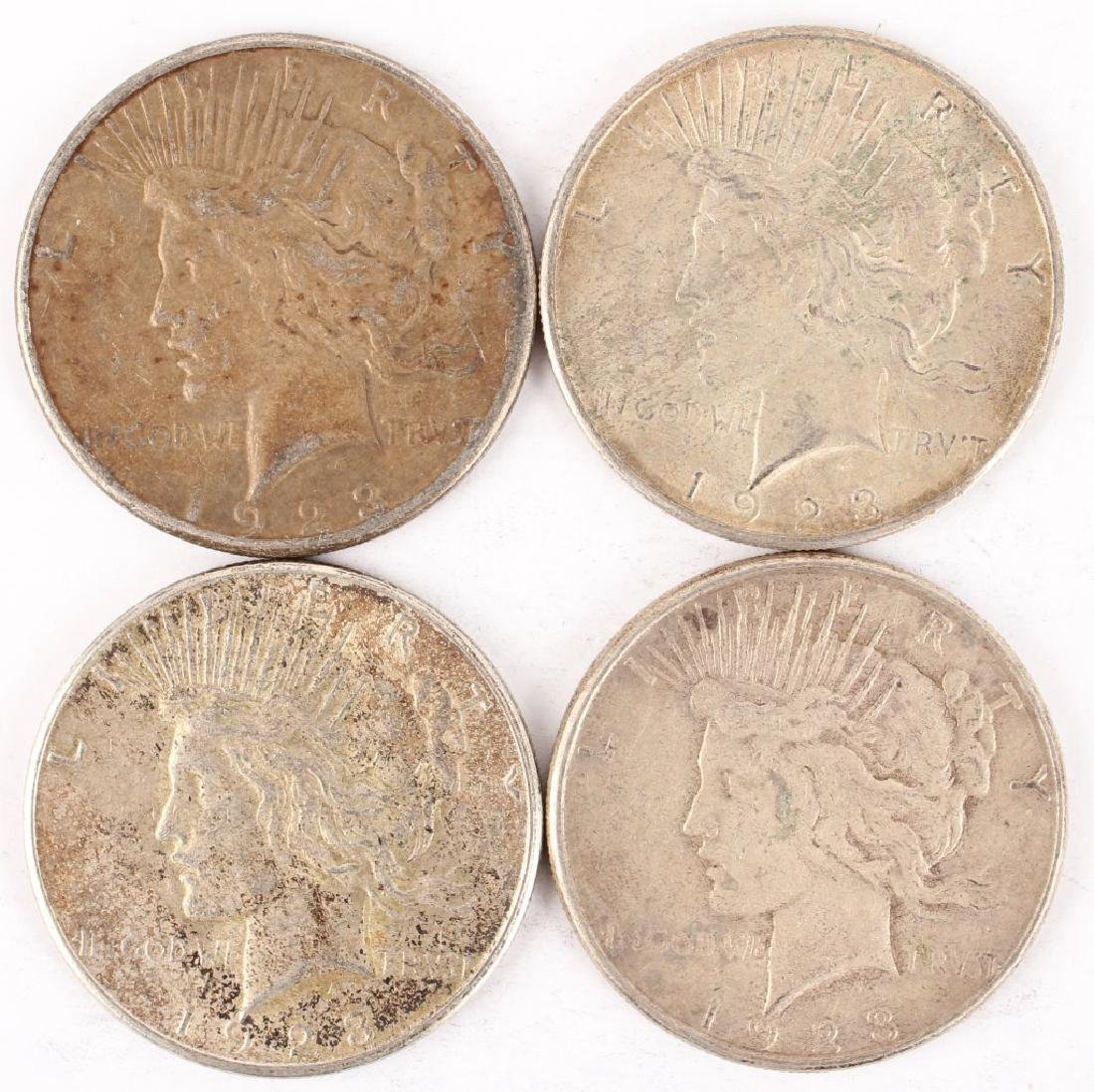 (4) 1923 S SILVER PEACE DOLLARS