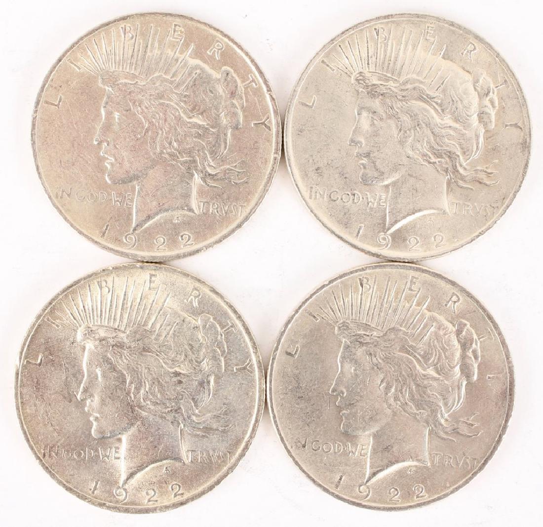 (4) 1922 P SILVER PEACE DOLLARS