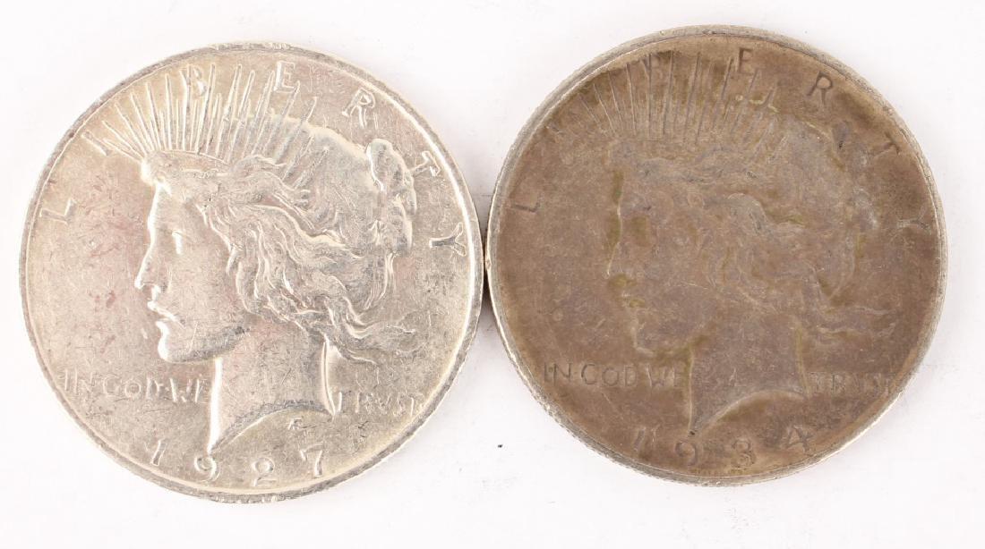 1927 D & 1934 D SILVER PEACE DOLLARS