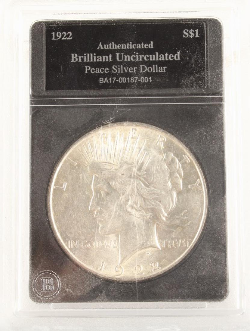 1922 US SILVER PEACE DOLLAR UNCIRCULATED