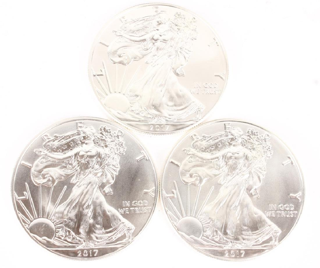 (3) AMERICAN SILVER EAGLE ONE OUNCE SILVER COINS