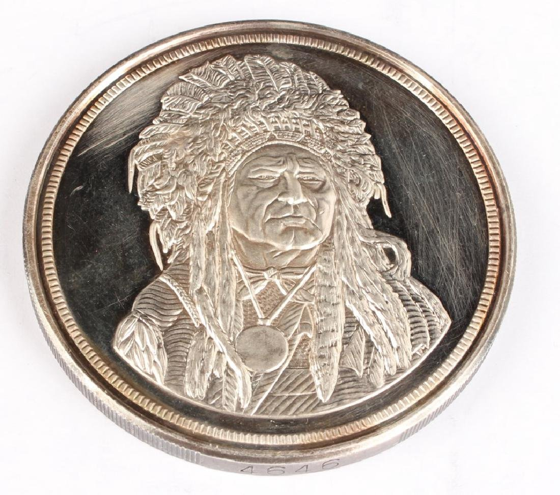 THE SILVER CHIEF FIVE TROY OUNCE SILVER ROUND