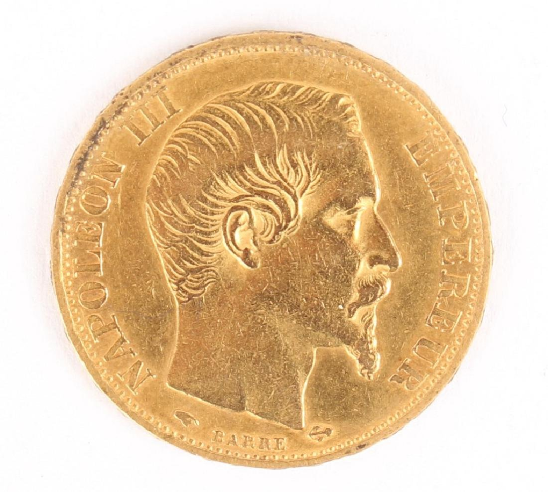 1857 A  FRANCE 20 FRANCS GOLD COIN