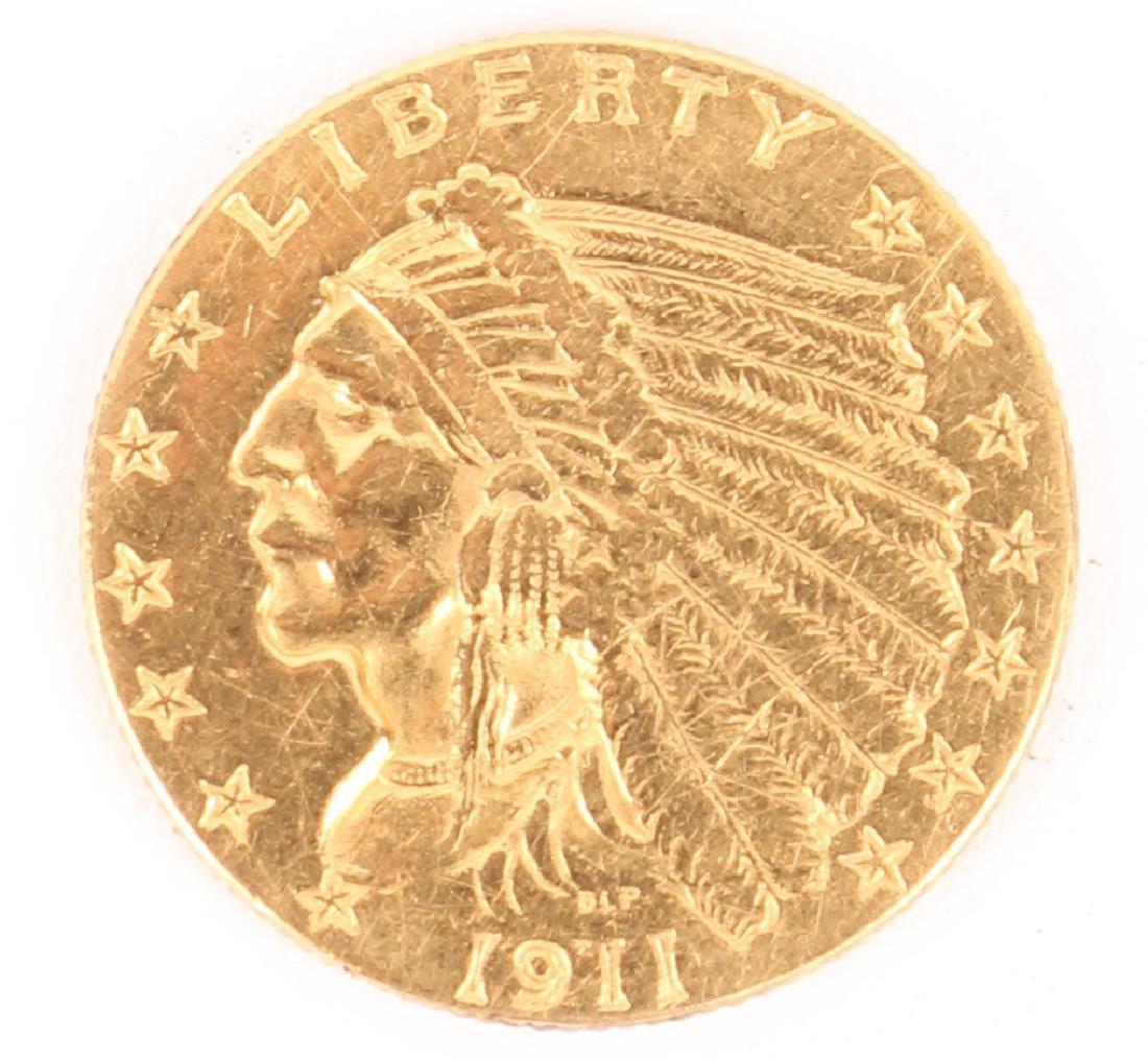 $2.50 1911 INDIAN HEAD GOLD QUARTER EAGLE