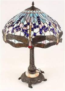 TIFFANY STYLE DRAGONFLY STAINED GLASS LAMP