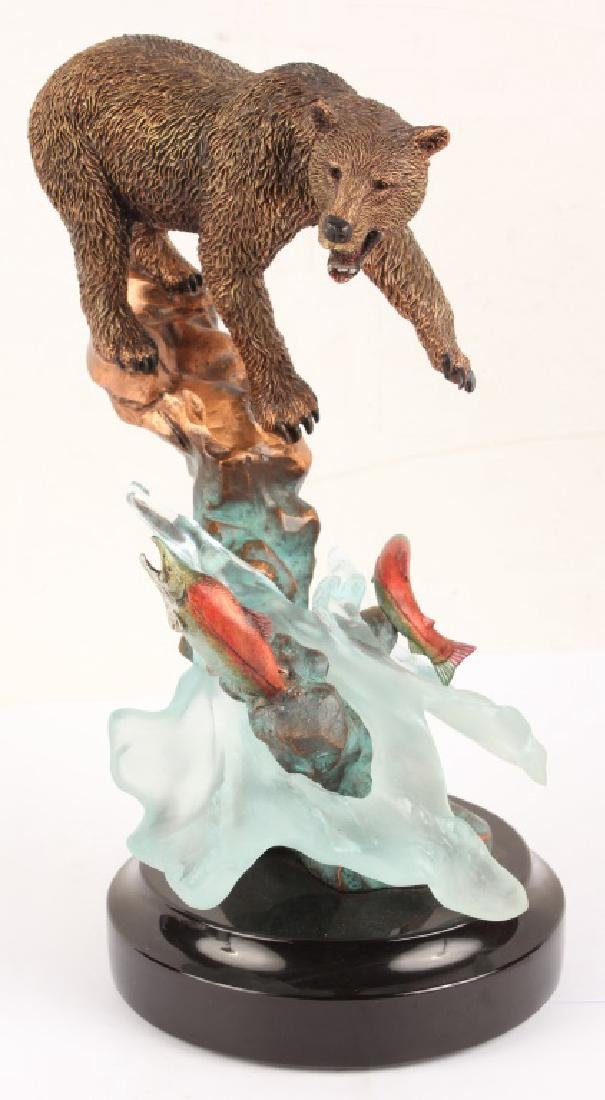 LEGENDS GENESIS BEAR FISHING SALMON METAL STATUE