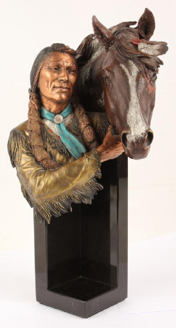 LEGENDS NATIVE AMERICAN WITH HORSE METAL STATUE