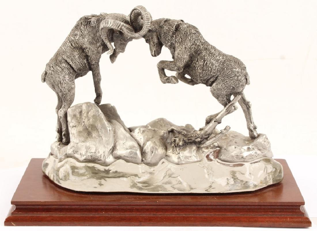 CHILMARK DALL RAMS LIMITED EDITION PEWTER STATUE