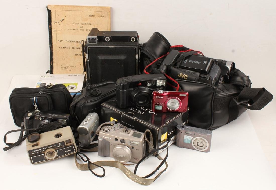 LOT OF 12 MODERN CAMERAS & VIDEO NIKON POLAROID
