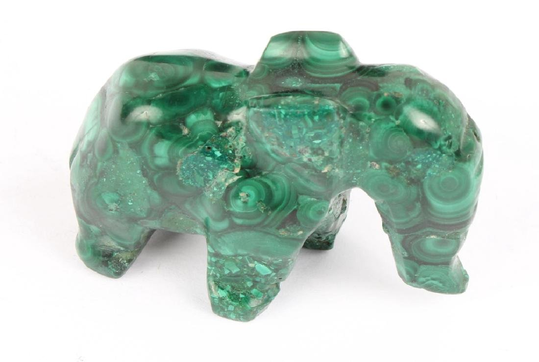 MALACHITE CARVED ELEPHANT FIGURINE