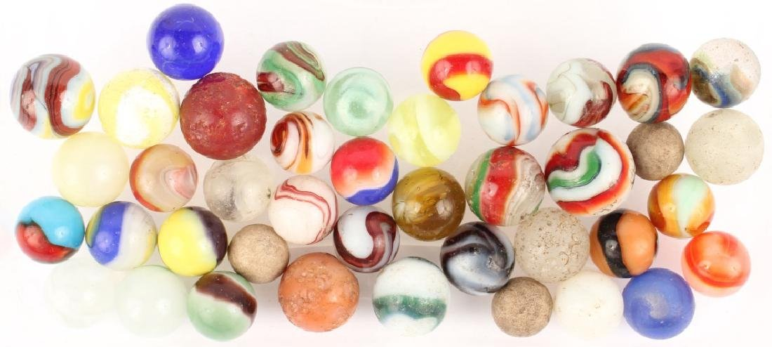 MIXED LOT OF ANTIQUE MARBLES