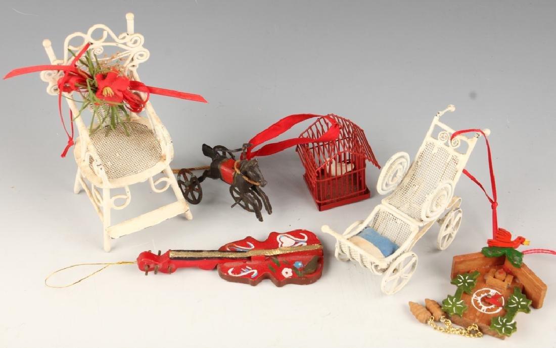 SIX CHRISTMAS ORNAMENTS METAL WOOD HORSE BIRDHOUSE
