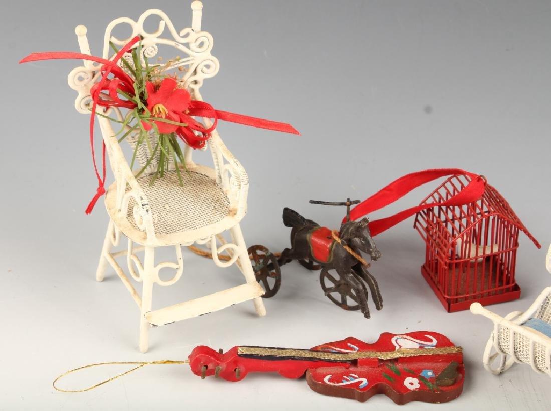 SIX CHRISTMAS ORNAMENTS METAL WOOD HORSE BIRDHOUSE - 2