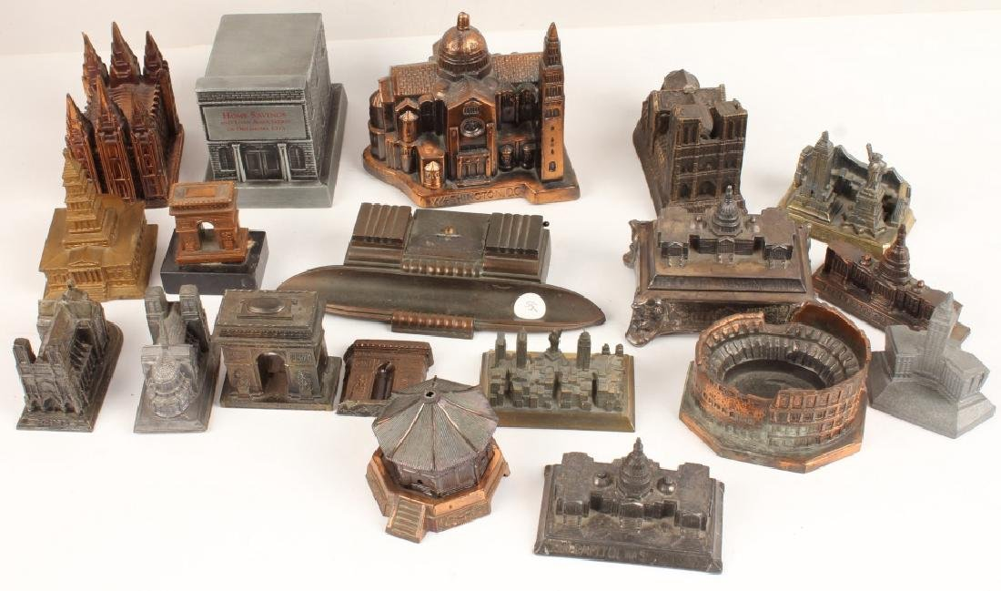 LOT OF 18 CAST MODEL BUILDINGS
