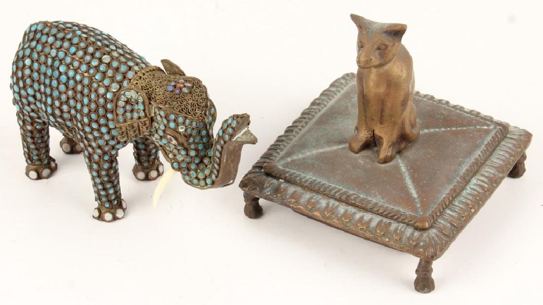 BRASS ELEPHANT FIGURINE & CAT MOTIF BOX