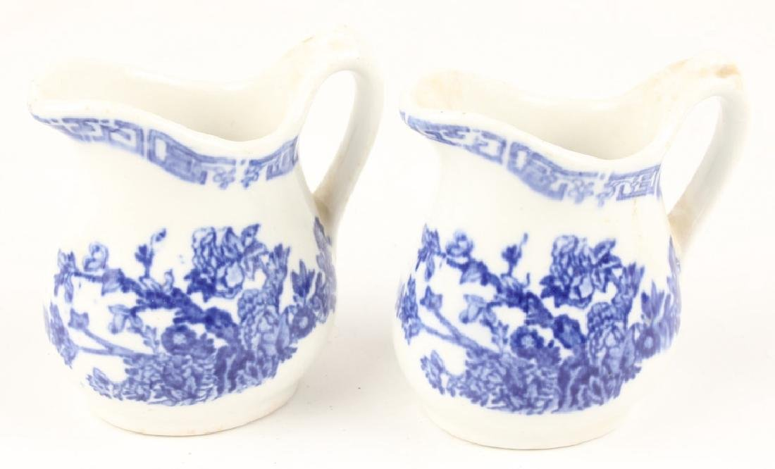 PAIR JOHN MATTOX BLUE & WHITE CERAMIC CREAMERS