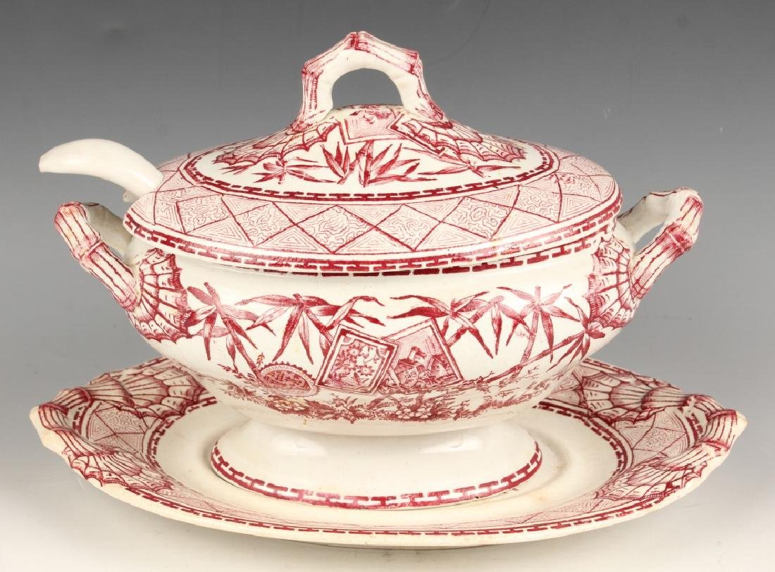 "19TH CENTURY RED TRANSFERWARE ""BAMBOO"" GRAVY BOAT"