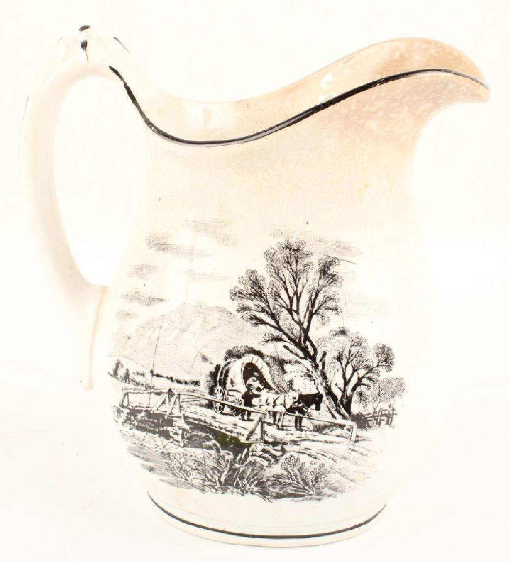 IRONSTONE CHINA PITCHER WITH EQUESTRIAN MOTIF